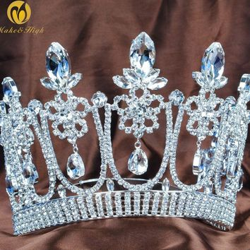 "Floral Flower 5.3"" Contoured Tiara Diadem Beauty Pageant Crown Wedding Bridal Clear Crystal Headband Party Costumes"