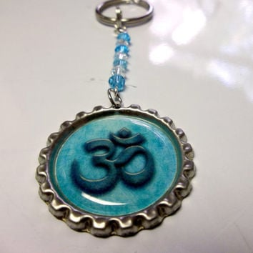 OM Bottle Cap Keychain Beaded With Blue Glass Beads Reiki Yoga and Spiritually Inspired Accessories