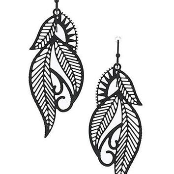 Filigree Leaf Design Laser Cut Out Drop & Dangle Earrings