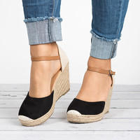 Ankle Strap Espadrilles Wedges - Black