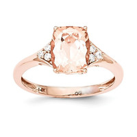 14k Rose Gold Cushion Cut Morganite & Diamond Ring