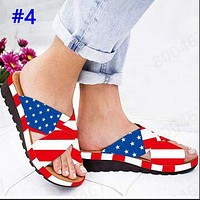 Popular fashion casual national flag print patchwork color platform slippers #4