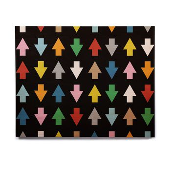 "Project M ""Arrows Up and Down Black"" Birchwood Wall Art"