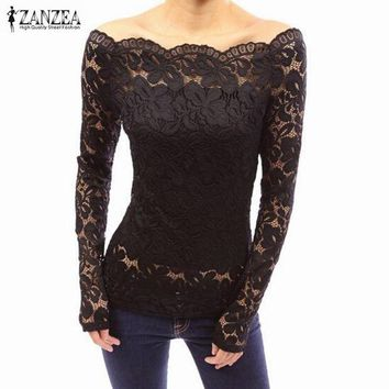 ONETOW Off Shoulder Slash Neck Lace Solid Shirts Long Sleeve Slim Casual Basic Top Blouse