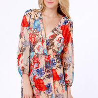 Jas-mine, All Mine Blush Floral Print Dress