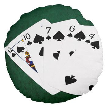 Poker Hands - Flush - Spades Suit Round Pillow