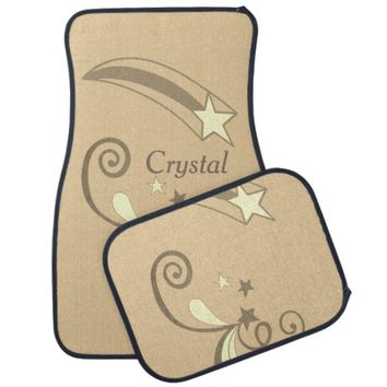 Personalized Tan White Shooting Stars Flourish Car Floor Mat
