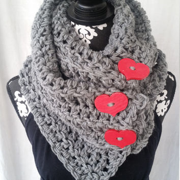 Gray Scarf with Red Heart Buttons,  Girlfriend Gift, Chunky Scarf, Sweetheart Gift, Trending Valentine's,  Large Scarf,  Adorable