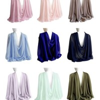 Wide Long Shiny Scarf Women Formal Evening Wrap Wedding Shawl Stole in Gift Box