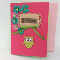 Happy Valentine's Day Greeting Card with a Cute Owl