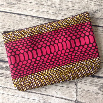 Pink Zip up pouch. Cosmetic bag African print. Zippered pouch, make up,  Purse, cosmetic purse. Wax print