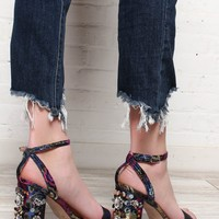 Doris Sequin Block Heel Sandal - Navy Brocade