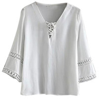 White Lace Up Front Crochet Insert Blouse