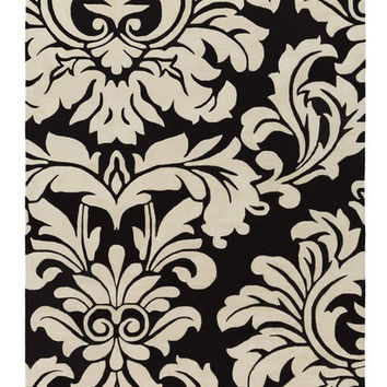 Belle Flourish Black Area Rug