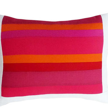 Red Orange Pink Decorative Pillows Colorful by PillowThrowDecor