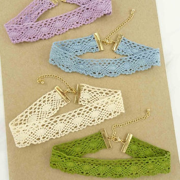 Soft Crochet Lace Thick Choker Necklace