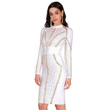 S Curve Women's Crystal Stone & Stud Embellished Long Sleeve Dress