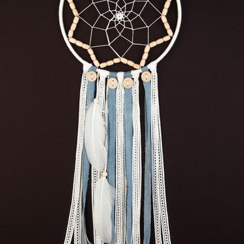 Large White Dream Catcher Large Dreamcatcher boho dreamcatchers wall hanging wall decor wedding decor blue jean