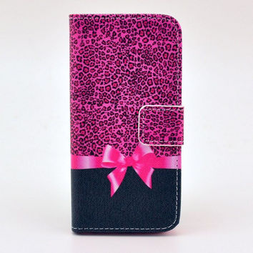 Leather Pink Leopard Flip Case Cover For iphone 5c With Card Holder