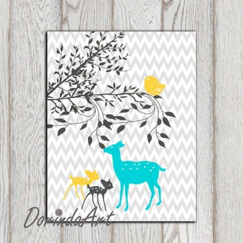 Gray chevron girls bedroom wall decor print Yellow Gray turquoise Mom child babies Fawn Deer Doe nursery wall art 11x14, 5x7, 8x10 DOWNLOAD