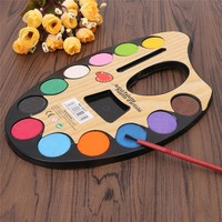 12 Color Professional Artist Palette Paints Set Hand Wall Textile Painting Brush   Art Supplies Free