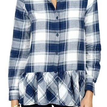Beach Lunch Lounge Buffalo Plaid Navy Ruffle Hem Shirt