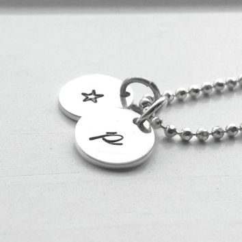 SmallInitial Necklace, Personalized Star Necklace, All Initials Available, Letter p Necklace, Small Star Necklace, Sterling Silver Jewelry