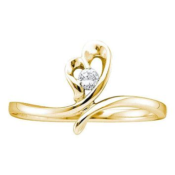 14kt Yellow Gold Women's Round Diamond Heart Love Promise Bridal Ring 1/20 Cttw - FREE Shipping (US/CAN)