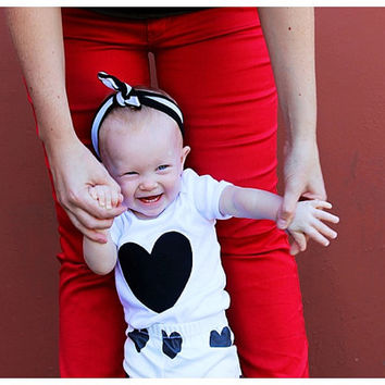Black Heart Baby White One Piece T Shirt Valentines Day