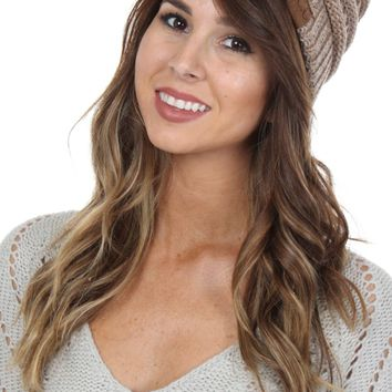 Heathered Knit Beanie Beige