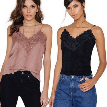 Fashion Sexy straps lace hollow splicing backless top-1