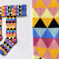 DIAMOND MINE, WOMEN'S KNEE-HIGH SOCK, MULTI-COLOR GEOMETRIC DESIGN
