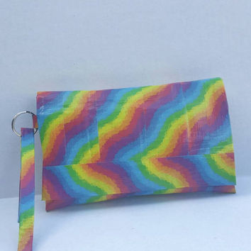 Rainbow Duct Tape Wristlet - Purse - Wallet with strap
