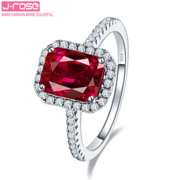 Jrose 3.5ct Pigeon Blood Red Ruby Engagement Wedding Ring Pure Solid 925 Sterling Silver Square Cut Fine Jewelry Free Shipping