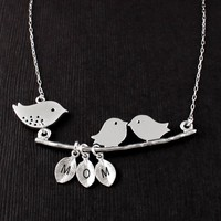 Mama Baby Bird Necklace - 3 INITIALS YOUR CHOICE New Mother - Vivian Feiler Designs | Wedding