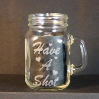 Personalized Wedding Favor, 4 oz. Glass, Mini Mason Jar Drinking Glass, Sand-Etched Glass, Unique Wedding Favor