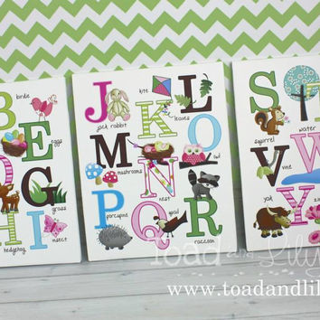 Set of 3 Girls Nature Forest Woodland ABC Alphabet Stretched Canvases Baby Nursery CANVAS Bedroom Wall Art 3CS038