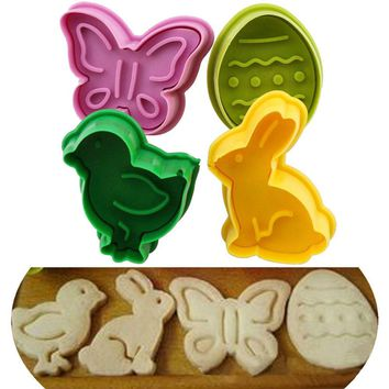 4pcs/lot Animal Shape Easter Cookie Plunger Cake Decoration Mold Pastry Cookies Cutter Baking Mould Fondant Sugar Craft Mold