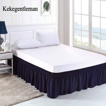 Navy blue Bed Skirt Brushed Cloth Bed Covers without Bed Surface King Queen Size Elastic Band Bed Skirts 38cm Height Bedspread