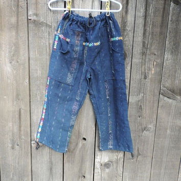 Kids Guatemala hippie pants, embroidered drawstring pants, ethnic tribal style
