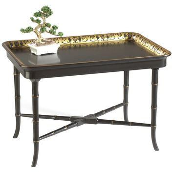 Brentford Black and Gold Tray Table
