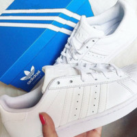 """Adidas"" Casual Running Sport Shoes Sneakers All white"