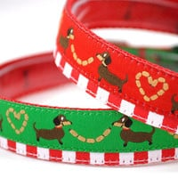 """3/4"""" Wide Holiday Layered Ribbon Dog Collar [ Your Choice ] """"Christmas Dachshund Sausage Love"""" Red or Green"""