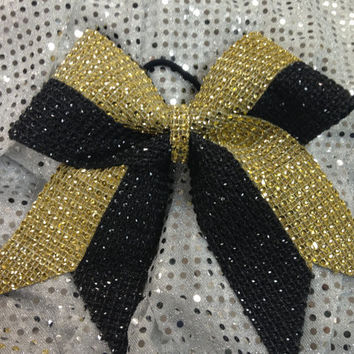 1 Black & Gold Rhinestone Bling Cheer Cheerleading Dance Ribbon Bow