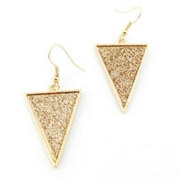 Simple Gorgeous Gold-tone Triangle Dangle Drop Earrings