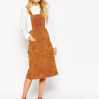 Brown Faux Suede Leather Pocket Strap Midi Skirt