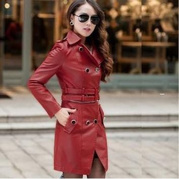 women Leather trench coat  autumn slim leather coat PU two kinds of wear leather coat A070