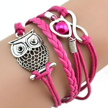 Infinity Owl Pearl Friendship Multilayer Charm Leather Bracelets Gift HK