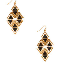 FOREVER 21 Art Deco Cutout Drop Earrings Black/Gold One