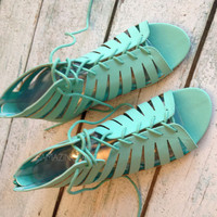 Strappy Mint Teal Gladiator Sandals